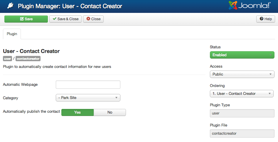 Joomla plugin contact creator