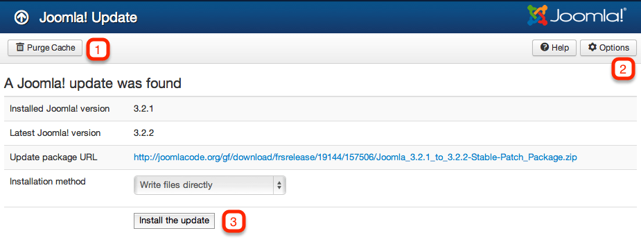 Joomla! update available