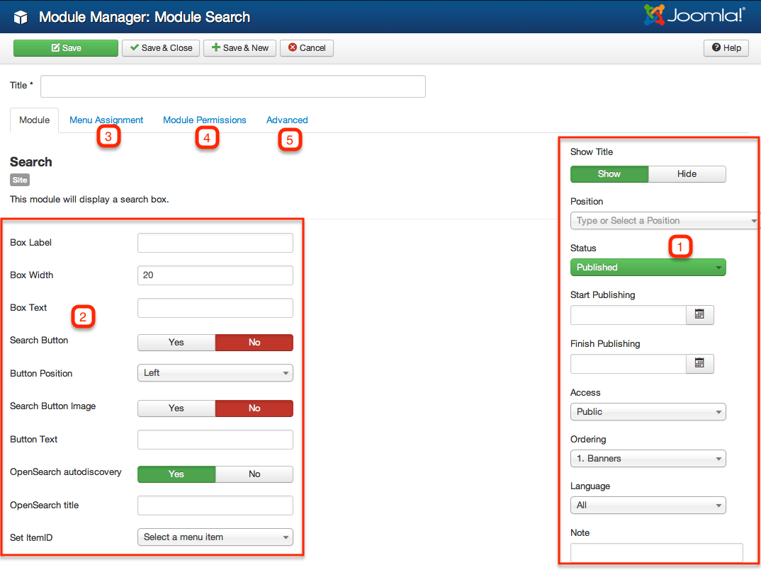 Joomla! search module