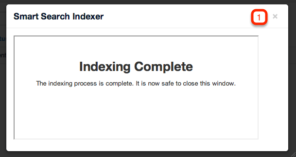 Joomla! indexing complete