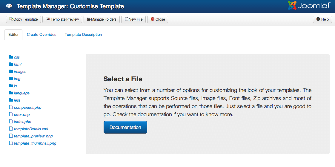 Files & folders for the Joomla! template: Protostar