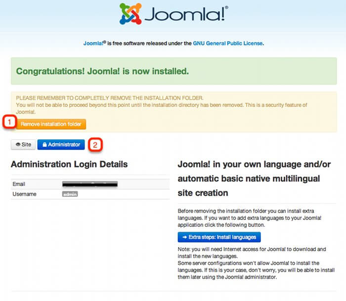 joomla! installation completed