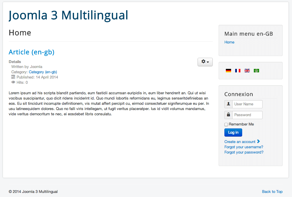 Home page multilingual website Joomla!