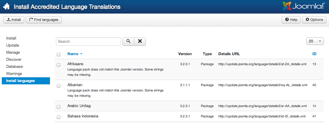 Joomla! languages installation