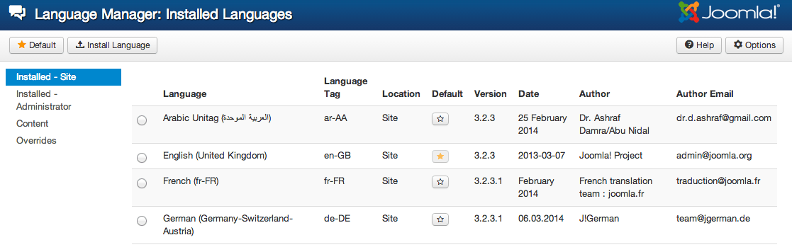 Joomla! language manager