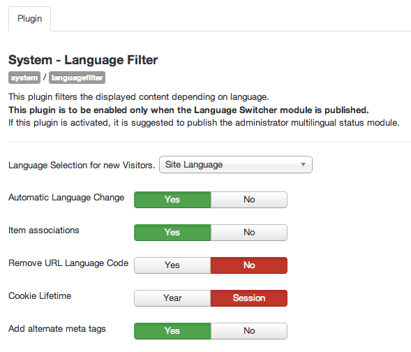 Plugin system language filter
