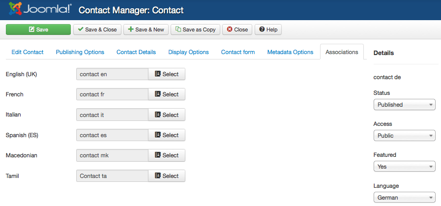 assoc 2 contacts single