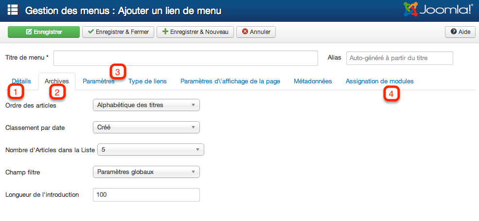 Lien de menu Articles archivés