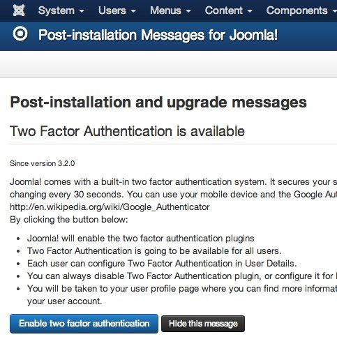 Message post installation avec Joomla 3.2