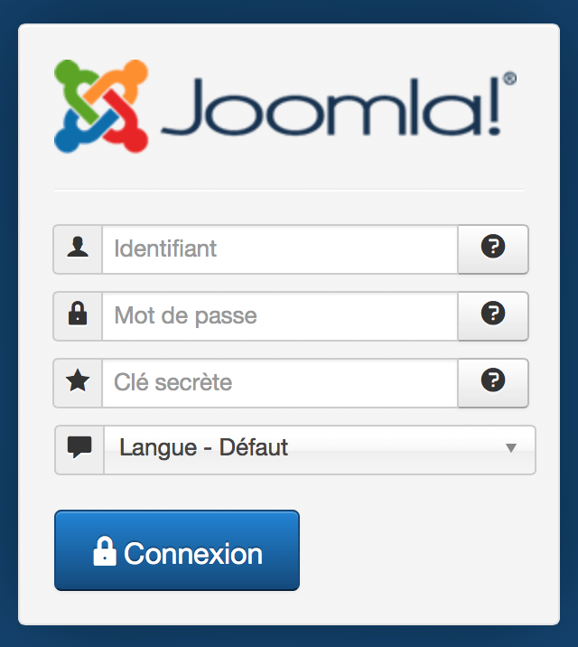 Joomla! login authentification en deux étapes