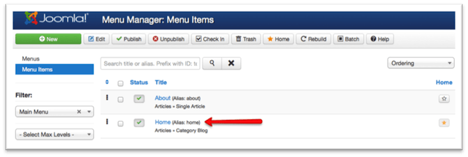 overrides element de menu joomla!