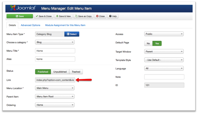 Surcharges joomla element de menu blog