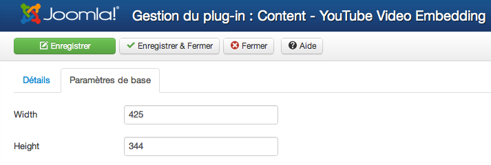 plugin YouTube vidéo embedding