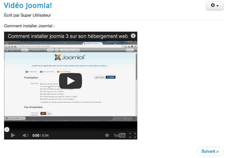 Video YouTube publiée dans un article Joomla!