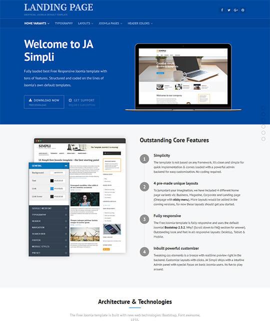 JA Simpli, le futur template de vos nouveaux sites Joomla! ?